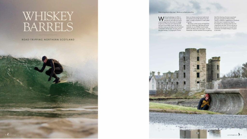 Front cover image and first page of Whisky Barrels article.